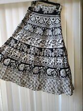 Women's Black White One Sz Elephant Boho Gypsy Full Wrap Skirt