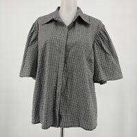 Anthropologie Eri + Ali Top Oversized Short Sleeve Button Up Gingham Size Large