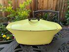 Le Creuset Elyse Yellow Raymond Loewy Cast Iron Dutch Oven 4.5 Vintage