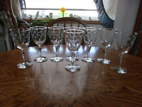 "Cut Wine Etched Floral Blown 7"" - Set of 8"