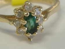 14K GOLD NATURAL EMERALD AND  DIAMONDS(0.18CT) RING SIZE 6,75