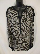 Daisy Fuentes Rayon Casual Mult Plus 1X Slveless Animal Print Blouse SR$52 NEW