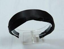 Semi Scrunched Satin Black Fabric Covered Hard Fashion Headband 1 in wide