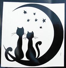 Cat love with moon stars stickers/car/van/bumper/window/decal 5192 black