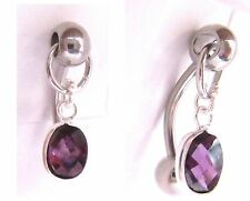 Surgical Steel VCH Hood Oval Purple Crystal Jewelry Curved Barbell 14 gauge 14g