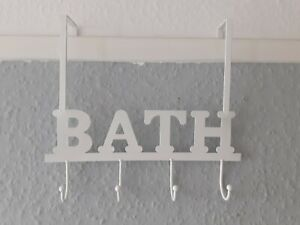 Over Door Towel 4x Hooks Bathroom Storage Rack in a WHITE Coating. Very Useful.