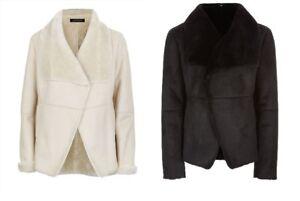 Jaeger Designer Soft Black Cream Faux Fur Luxury Coat Jacket 6 10 12 NWT RRP£299