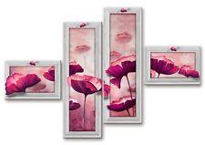 Quadro moderno su tela Shabby Chic su 4 pannelli fiori viola   160 x 100 cm