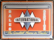 INTERNATIONAL TRUCKS OLD LOGO MARQUEE NEON STYLE PRINTED BANNER SIGN ART 4' X 3'