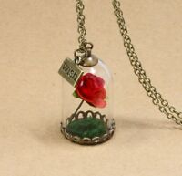 New Beauty and the Beast Inspired Enchanted Rose Dome Bronze Necklace Pendant UK