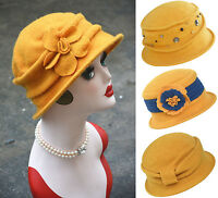 Yellow Stylish Womens 1920s Gatsby Winter Wool Beret Beanie Cloche Bucket Hat