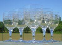 Baccarat? Service de 6 verres à vin en cristal gravé. Début Xxe s.