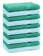 Lot de 10 serviettes débarbouillettes Premium couleur: turquoise & vert émeraude