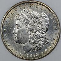 1878-S MORGAN SILVER DOLLAR ANACS MS60 DETAILS CLEANED GEM BU UNC (MR)