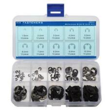 External Retaining Ring E-Clip Assortment Set Pack of 120-piece Spring Steel ~