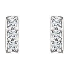 14K White Gold .05 CTW Genuine Diamond Vertical Bar Stud Post Earrings - Gift