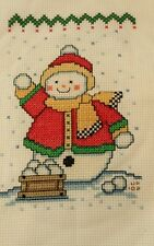 Counted Cross Stitch Christmas Snowman Snowball Fight Handmade Finished