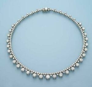 White Round Tennis Style Necklace Solid 925 Sterling Silver Wedding Fine Jewelry