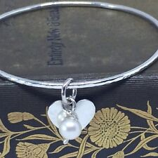 Sterling Silver Heart Bangle with Freshwater Pearl, Hammered Silver