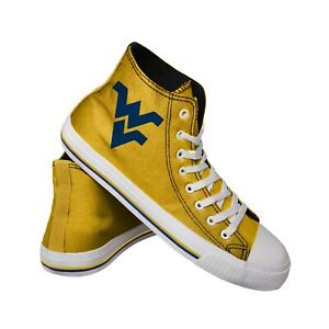 West Virginia Mountaineers NCAA Men's High Top Big Logo Canvas Shoes FREE SHIP
