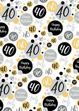 2 Sheets 40th Birthday Wrapping Paper Age 40 Wrap Gold Black  Male / Female (PA)