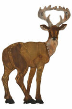 """Large Hand Carved Painted 27.5"""" Wood Deer Lodge Cottage Decor Wall Statue Art"""