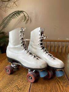 Vintage Sure-Grip Super X6 Black Leather Roller Skates Cottrell Wheels Size 6