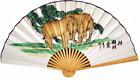 "35"" wide Handpainted Bamboo Wall Hanging Decorative Folding Fan Elephant Design"