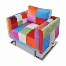 vidaXL Poltrona a Cubo con Gambe Cromate Tessuto Design Patchwork Seggiola