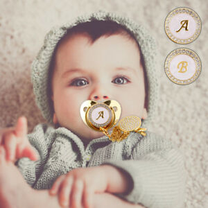 Baby Dummy Nipple Pacifier Crystal Chain 26 Initial Letter Silicone Safe Home