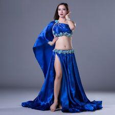 Belly Dance Costumes Satin Bra Top+Long Skirt 2pcs set Professional Dancewear WZ