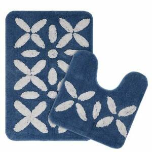 Blue Cotton Standard Size Rectangular;Round Shape 2 Pieces Anti-Skid Bathmat Set