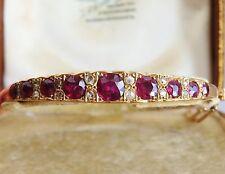 Impresionante Entubado antigua victoriana Antique Victorian 9 CT Oro Rosa Granate Y Diamante Brazalete c1885