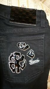 AUTHENTICATE FIRST GUCCI PANTS, JEANS, TROUSERS, FLOWER LOGO BLACK, SZ 38