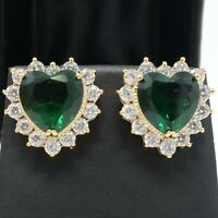 Sparkling Heart Emerald Halo Stud Earrings Women Jewelry 14K Yellow Gold Plated