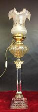 LAMP HUILE. COLONNE CLASSIQUE. VERRE ET METAL PLAQUE. CO EVERED. ANGLETERRE.1850
