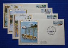 """Canada (1266-1269) 1990 Work Boats Colorano """"Silk"""" FDC set"""