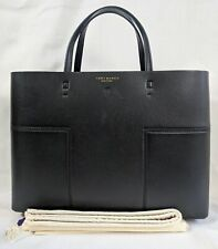 Authentic $528 TORY BURCH Block T Triple Compartment Black Leather Business Tote