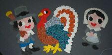 3 Vintage Melted Plastic Popcorn Thanksgiving lg.Turkey Pilgrims-Girl and Boy