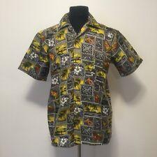 57afa46e Roundy Bay Men's S Hawaiian Shirt Yellow/Gray Floral Button Down Camp Aloha