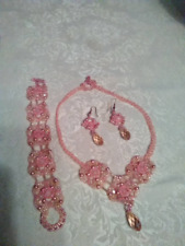OOAK Handmade Beadwoven Pink Necklace, Bracelet and Earrings Set