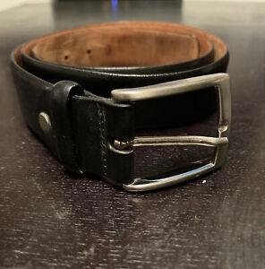 Versace ESTRO VERSO Black Leather And Silver Belt
