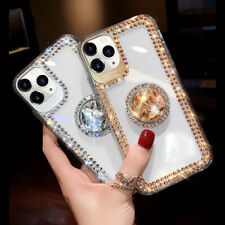 For iPhone 12 11 Pro Max XS XR 6 7 8 Bling Diamond Ring Holder Stand Case &Strap