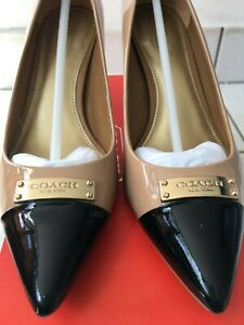 COACH - Tan Warm Blush and Black patent leather heels Size 6.5