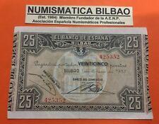 BILBAO 25 PESETAS 1937 BANCO DEL COMERCIO @RARO@ Pick S.563 BILLETE EBC EUSKADI