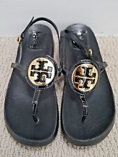 TORY BURCH black patent leather gold metal logo molded footbed thong sandals 8