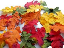 100 silk oak multi colour LEAVES UK WEDDING/ DECOR/CRAFT//COSTUMES/autumn