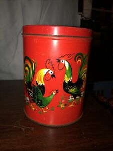 Vintage Tin Canister With Roosters