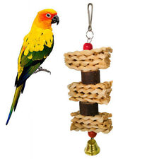 CO_ Wooden Block Corn Leaf Parrot Climbing Bite Chew Pet Toy Bird Cage Hanging D