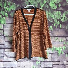 Exclusively Misook Orange Black Open Front Cardigan Size 2X